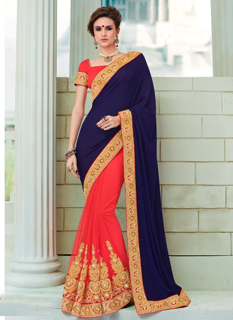 Topnotch Booti Work Half N Half Party Wear Saree