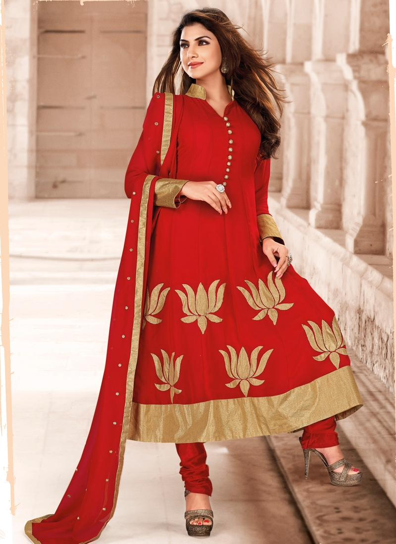 Topnotch Crimson Color Anarkali Salwar Kameez