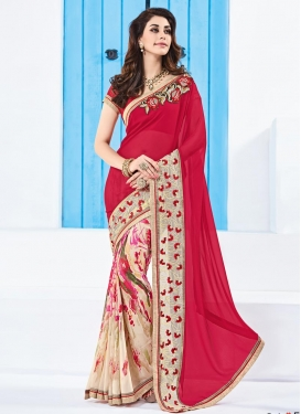 Topnotch  Digital Print Work Cream and Rose Pink Designer Half N Half Saree
