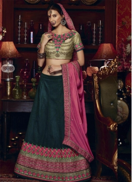 Topnotch  Embroidered Work Art Silk Rose Pink and Teal Trendy Lehenga Choli For Festival