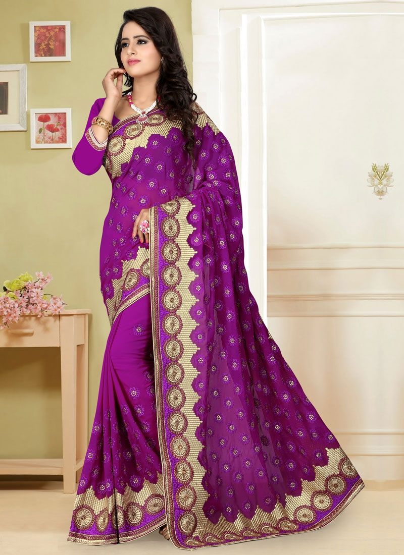 Topnotch Embroidery Work Purple Color Wedding Saree