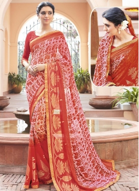 Topnotch Faux Georgette Contemporary Style Saree