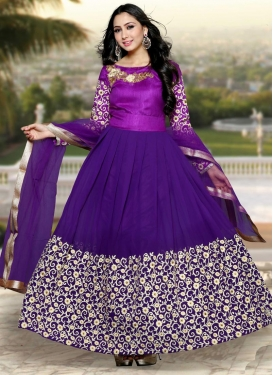 Topnotch Faux Georgette Flaring Style Anarkali Suit