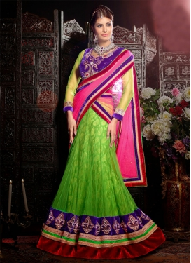 Topnotch Green Color Beads Work Net Wedding Lehenga Choli