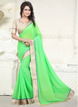 Topnotch Mint Green Color Lace Work Casual Saree