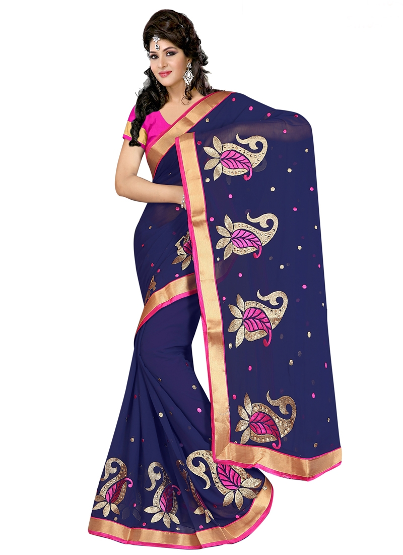Topnotch Navy Blue Color Faux Chiffon Casual Saree