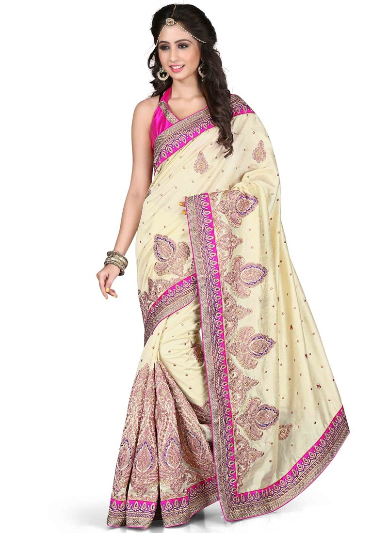 Topnotch Off White Color Art Silk Designer Saree