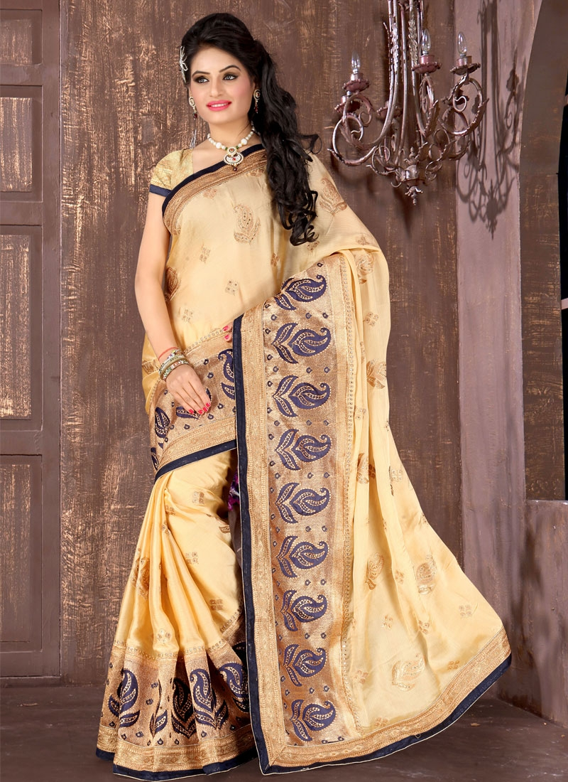 Topnotch Patch Border Work Cream Color Designer Saree