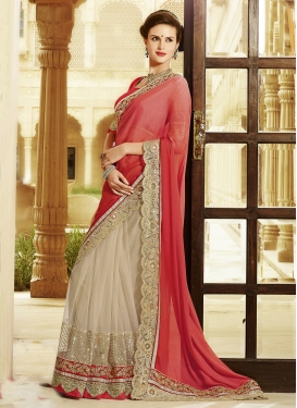 Topnotch Patch Border Work Half N Half Designer Saree