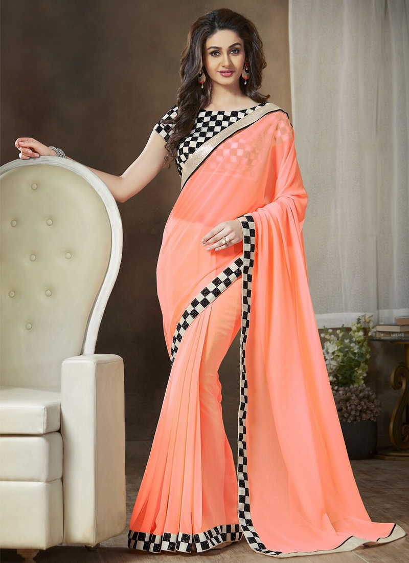 Topnotch Peach Color Casual Saree