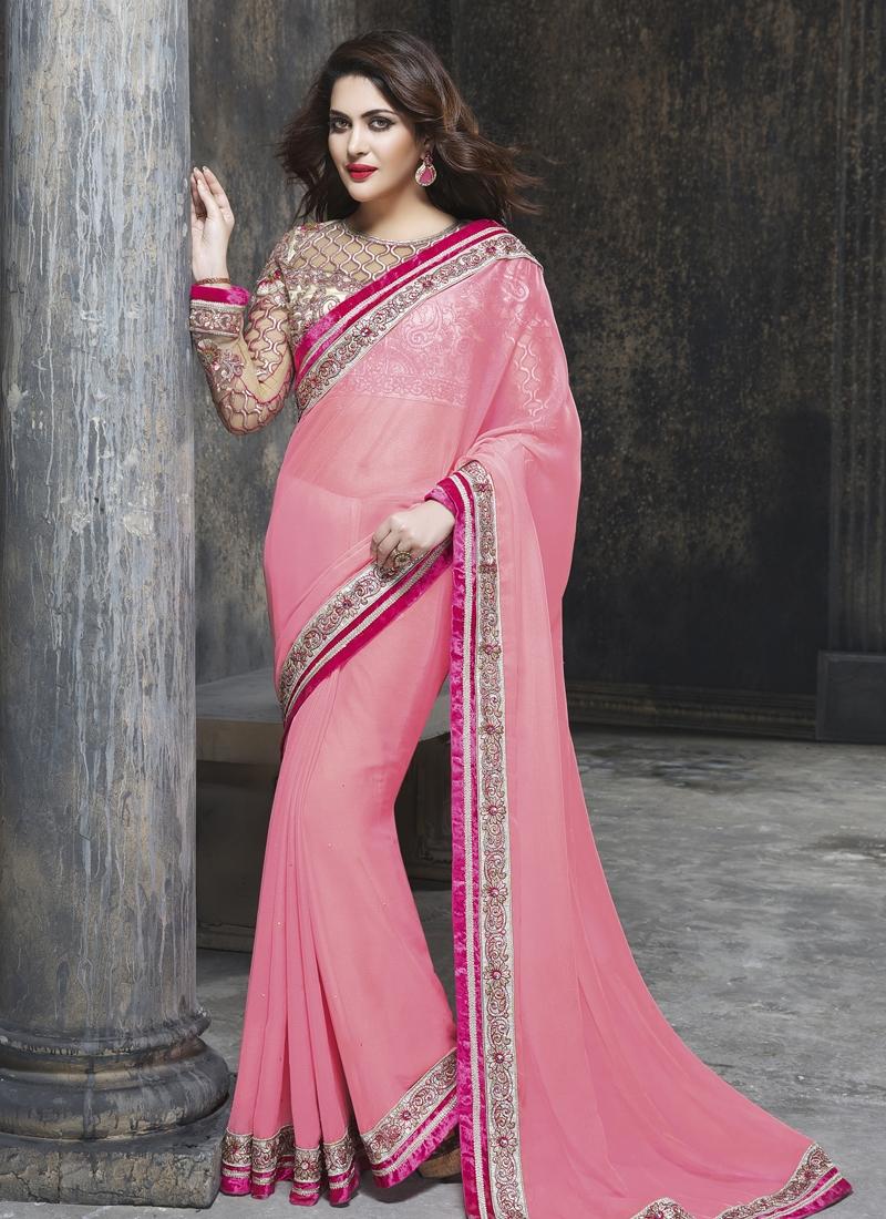 Topnotch Pink Color Lace Enhanced Wedding Saree