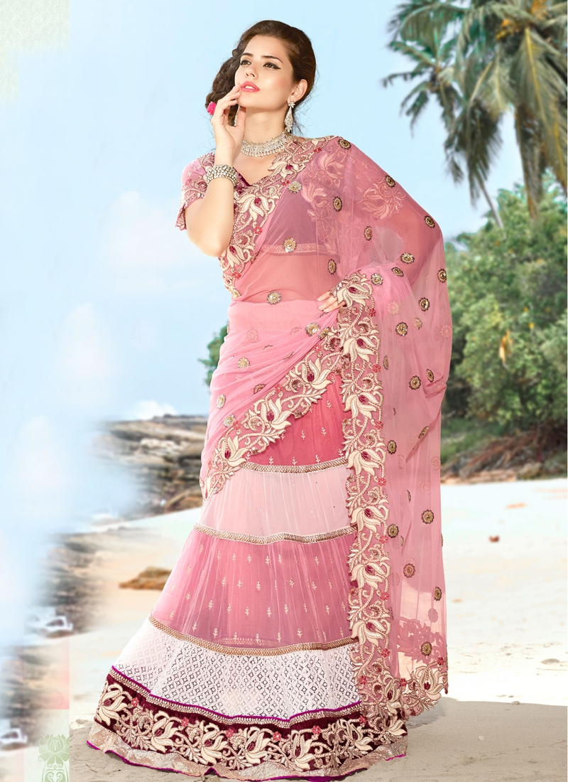Topnotch Pink Color Net Lehenga Saree