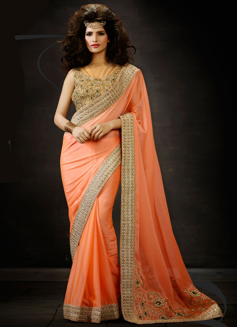 Topnotch Sequins And Lace Work Designer Saree