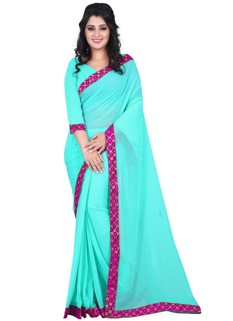 Topnotch Stone Work Turquoise Color Casual Saree