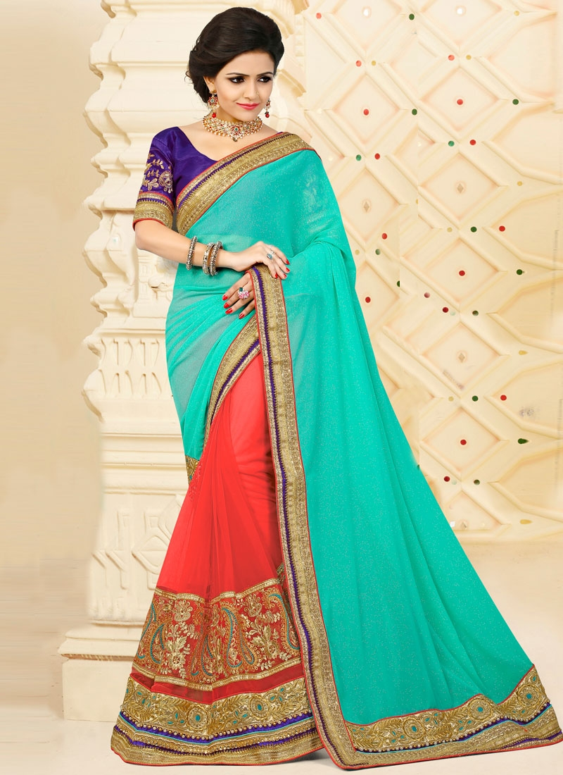 Transcendent Beads Work Net Designer Half N Half Saree For Ceremonial