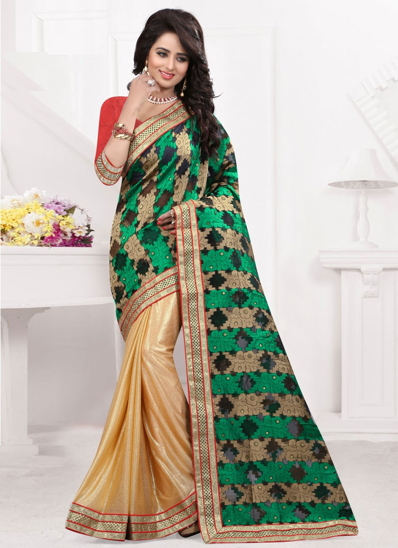 Transcendent Beige And Green Color Half N Half Party Wear Saree