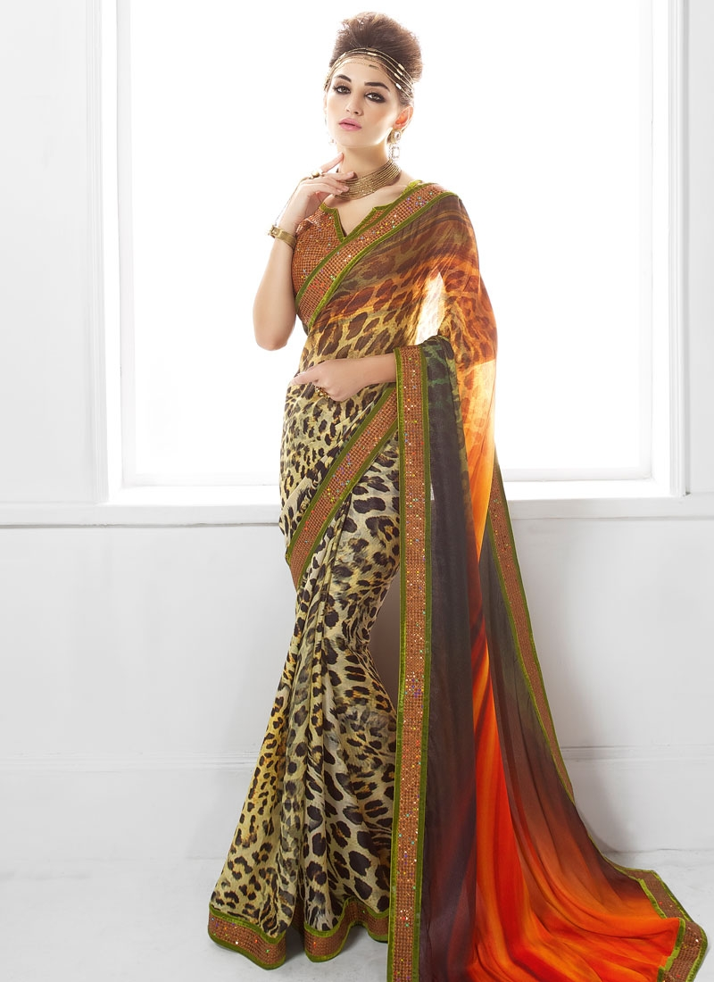 Transcendent Digital Print Work Party Wear Saree