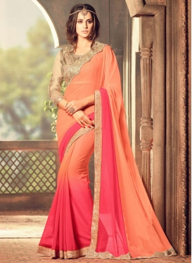 Transcendent Embroidered Work Designer Contemporary Style Saree For Ceremonial