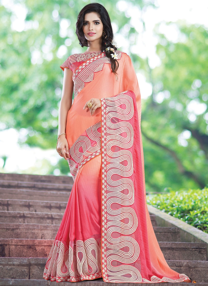 Transcendent Embroidery And Lace Work Designer Saree