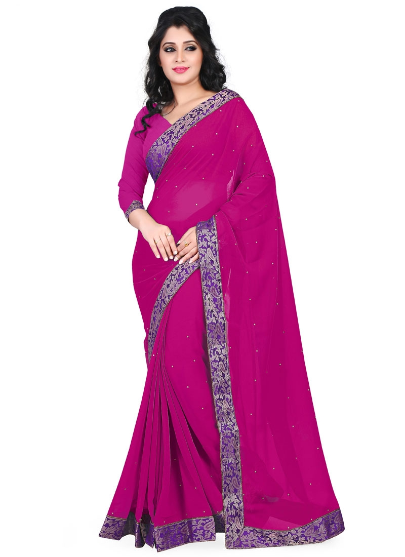Transcendent Faux Chiffon Resham Work Casual Saree
