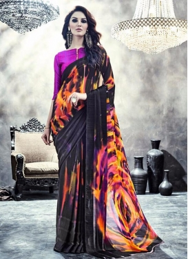 Transcendent Faux Georgette Digital Print Work Trendy Saree