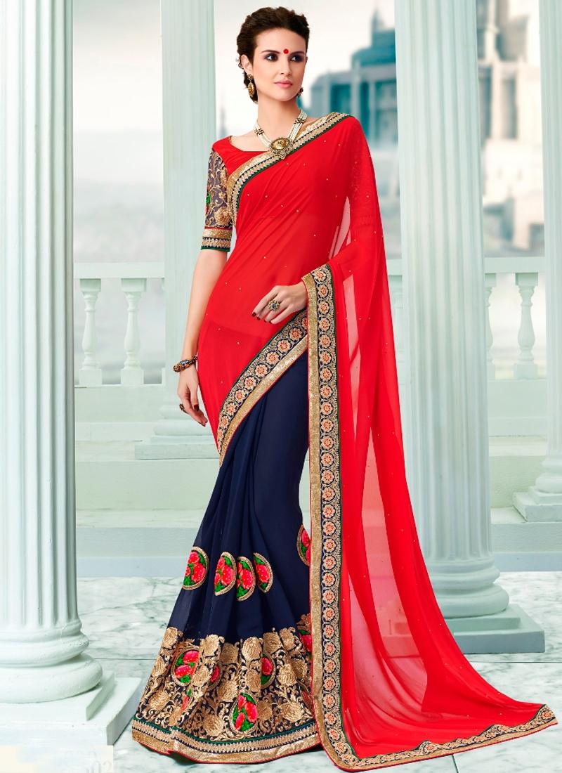 Transcendent Floral Work Half N Half Designer Saree