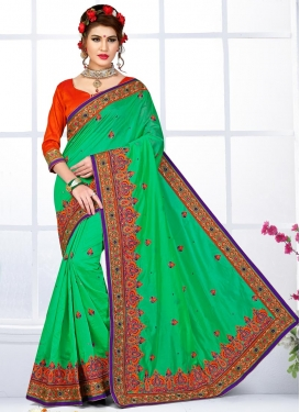 Transcendent Green and Red Contemporary Saree