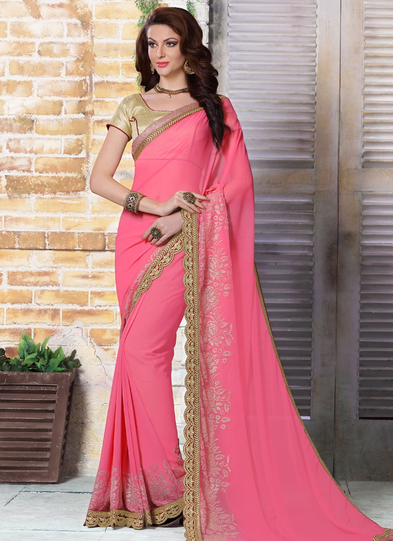 Transcendent Hot Pink Color Party Wear Saree