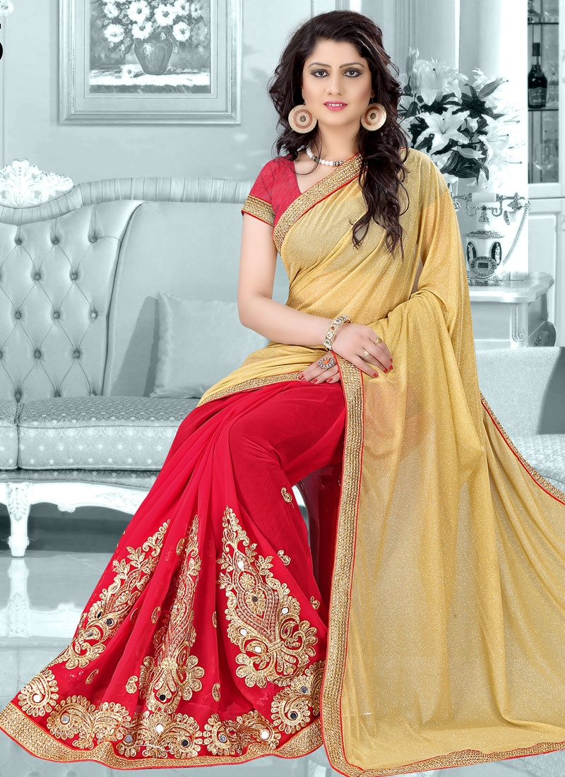 Transcendent Mirror Work Half N Half Designer Saree