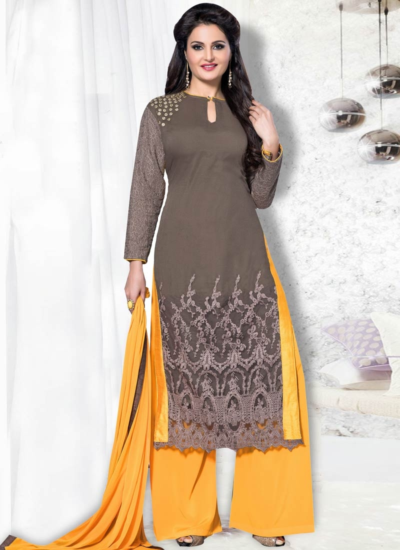 Transcendent Mirror Work Palazzo Style Party Wear Suit