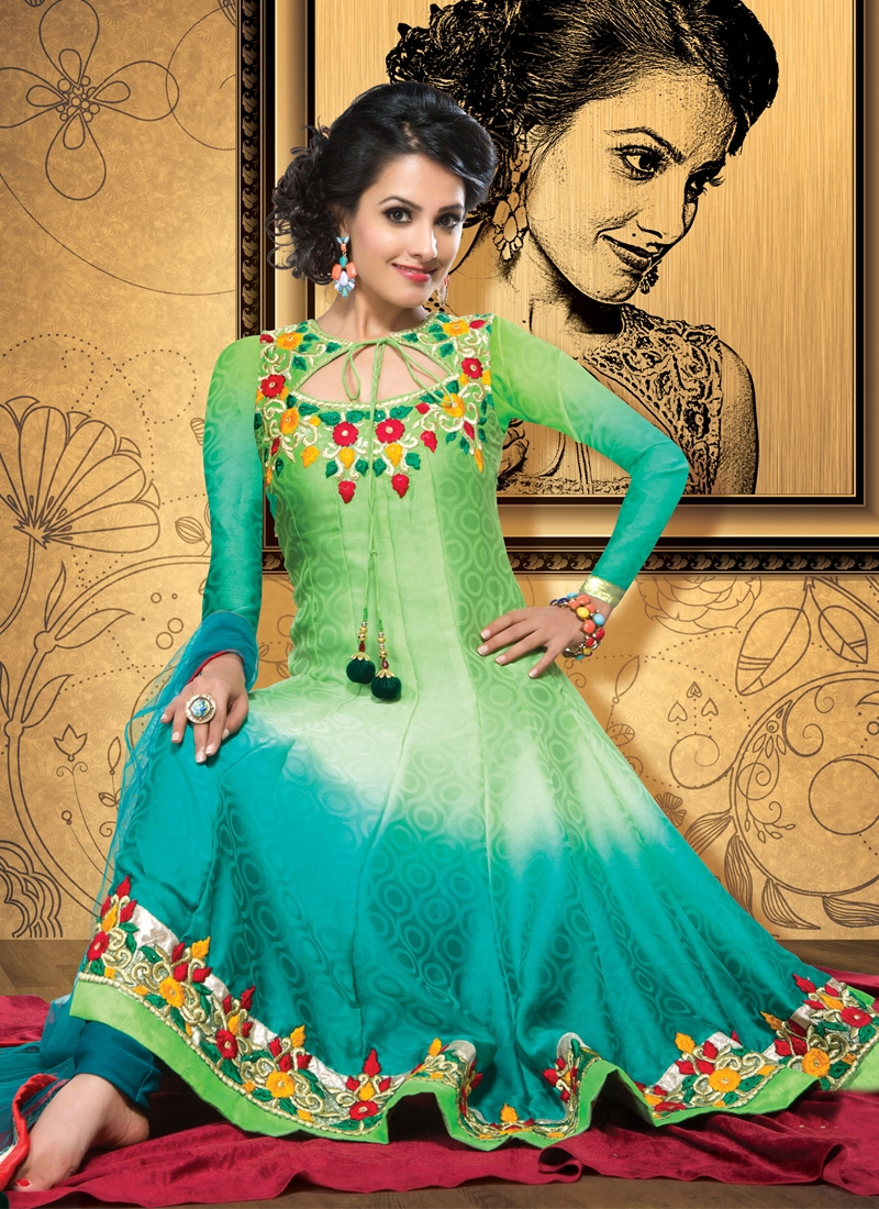 Transcendent Patch Work Anarkali Salwar Kameez