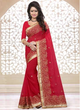 Transcendent Stone And Resham Work Party Wear Saree