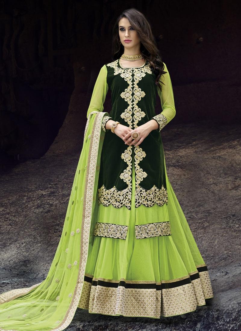 Transcendent Velvet And Net Kameez Style Designer Lehenga Choli