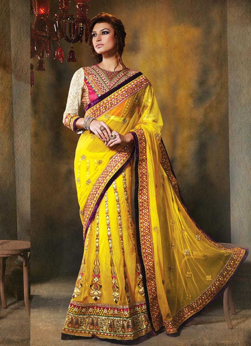 Transcendent Yellow Color Net Lehenga Saree