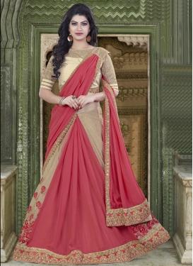 Trendy Beads Work Chiffon Satin Beige and Rose Pink Lehenga Style Saree