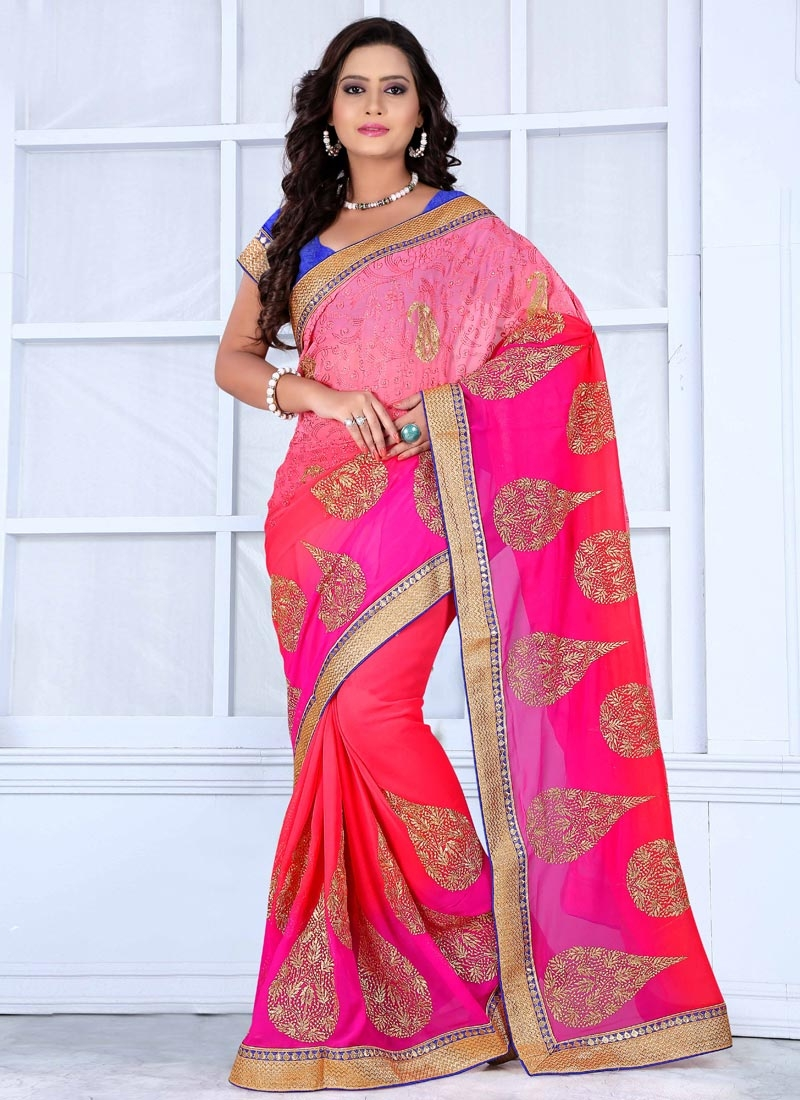 Trendy Chicken And Booti Work Party Wear Saree
