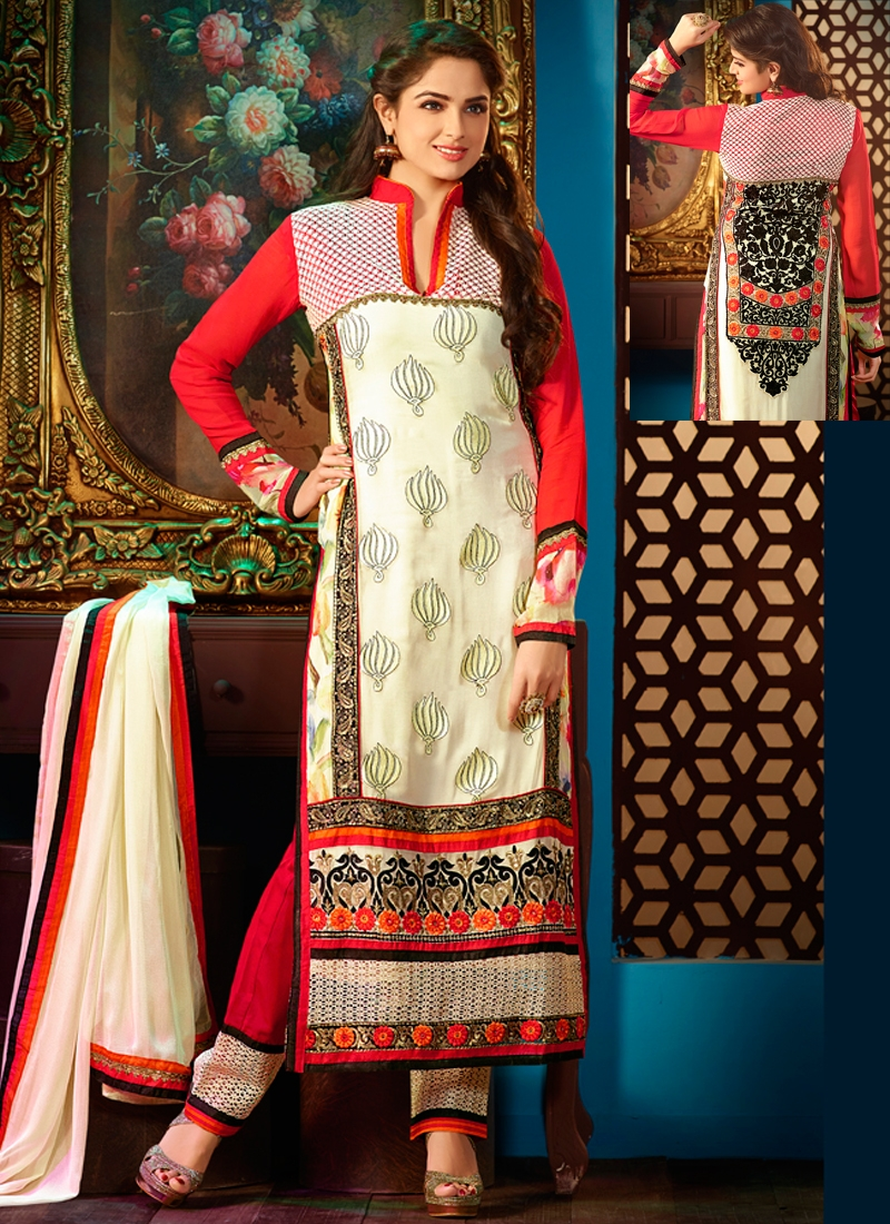 Trendy Cream And Red Color Georgette Designer Salwar Kameez