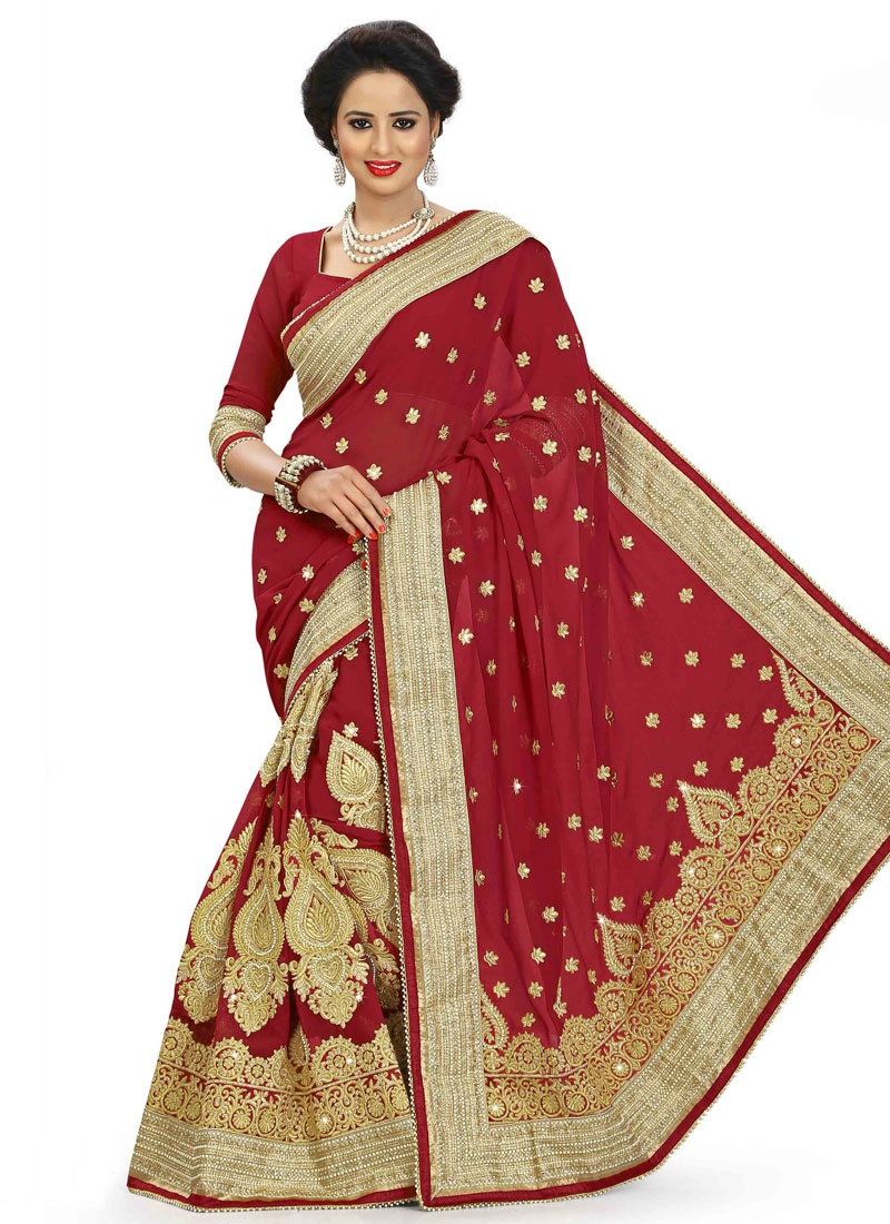 Trendy Crimson Color Booti Work Bridal Saree