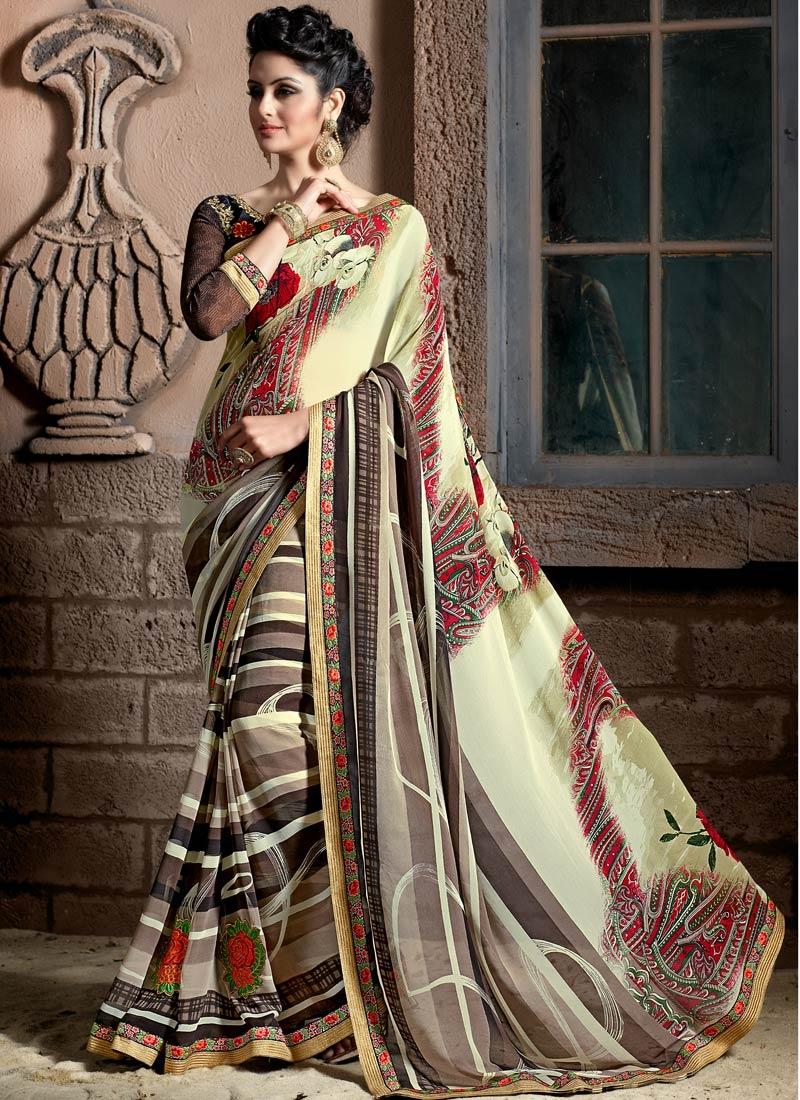 Trendy Digital Print Work Cream Color Casual Saree