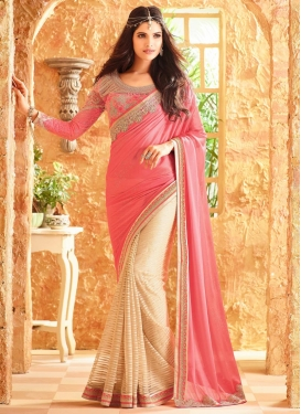 Trendy Embroidered Work Net Half N Half Trendy Saree