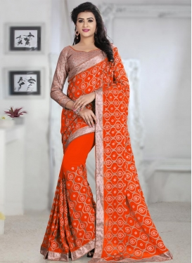 Trendy Faux Georgette Beads Work Classic Saree