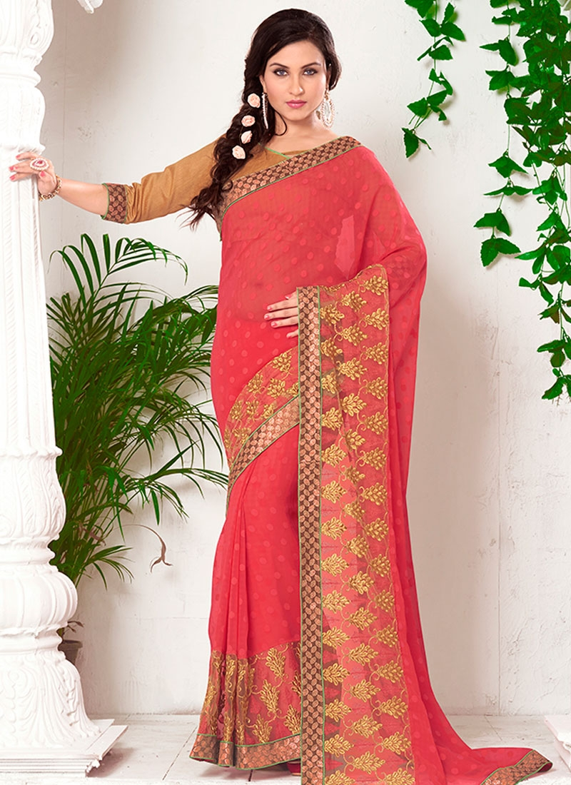 Trendy Jacquard Resham Work Party Wear Saree
