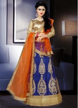 Trendy Navy Blue and Orange A Line Lehenga Choli For Festival