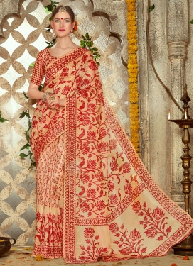 Trendy  Print Work Peach and Red Trendy Classic Saree