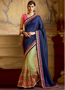 Trendy Sequins And Floral Work Half N Half Wedding Saree