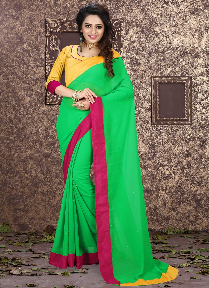 Trendy Stone And Lace Work Casual Saree