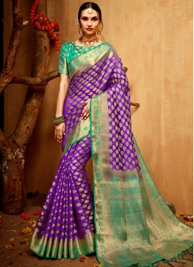 Turquoise and Violet Jacquard Silk Contemporary Style Saree For Ceremonial