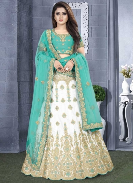Turquoise and White Booti Work A Line Lehenga Choli