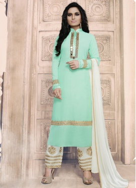 Turquoise and White Pant Style Salwar Kameez For Ceremonial
