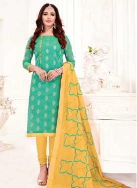 Turquoise and Yellow Churidar Salwar Kameez For Casual